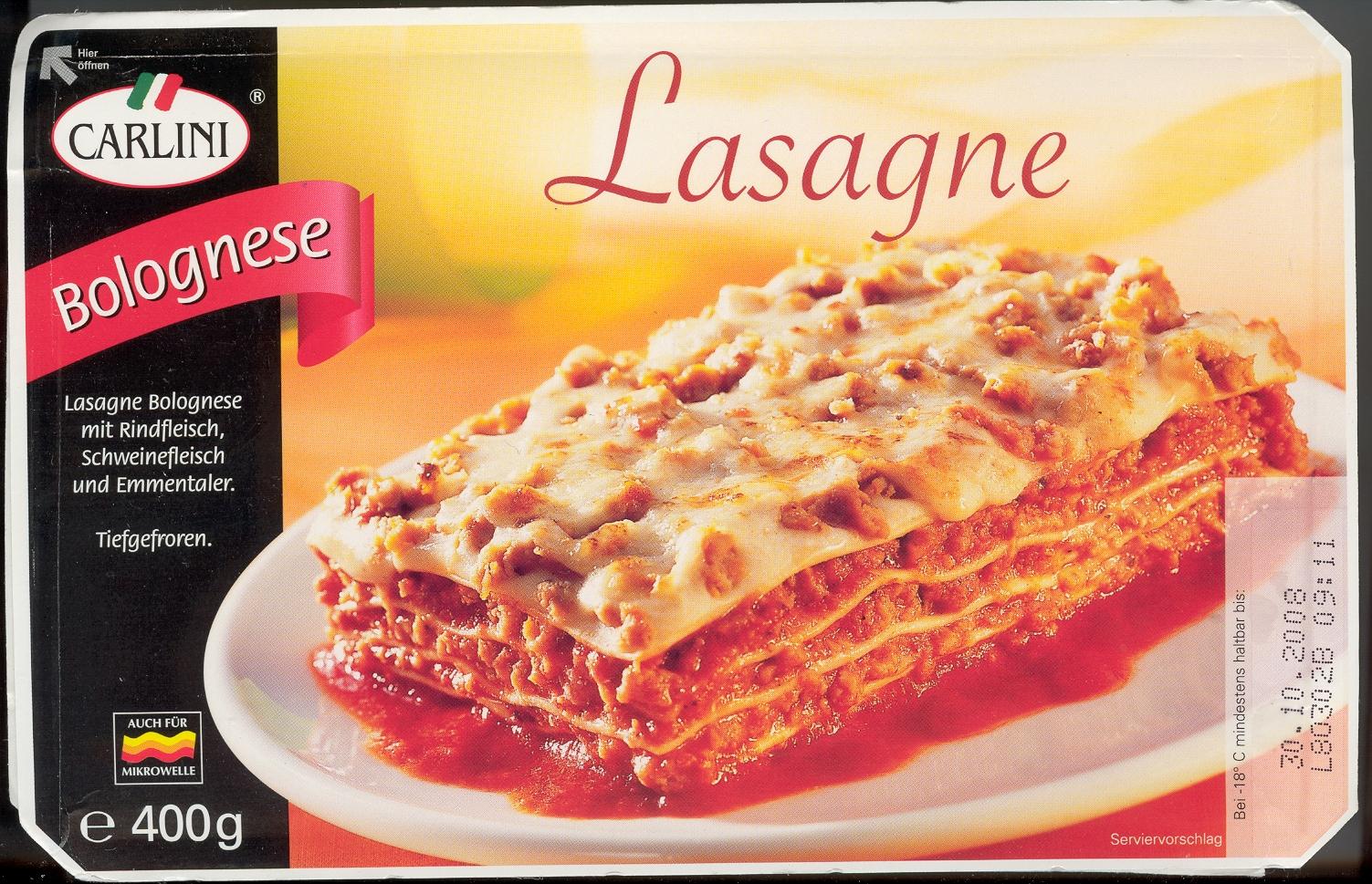 "Foto: Fertiglasagne Marke ""Carlini"" Aldi-Süd"