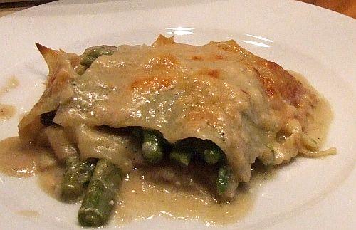 vegetarische Spargel-Lasagne mit Pilzen