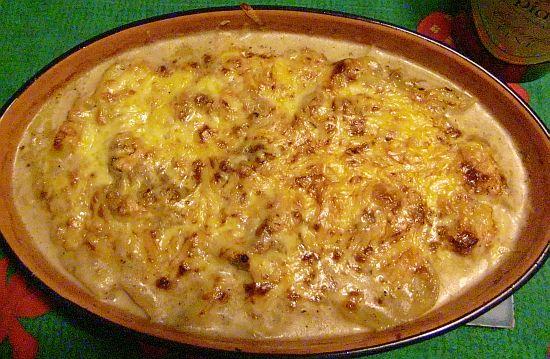 Schweinefilet-Kartoffel-Gratin mit Calvadosrahm