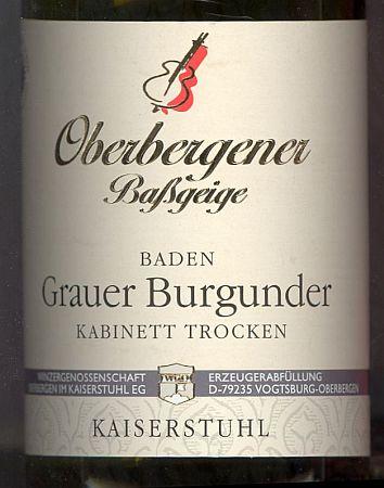 Grauer Burgunder Oberbergener Baßgeige Baden Kabinett trocken