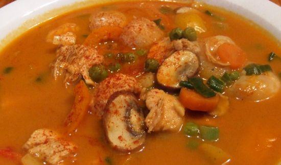 Chinesische Feuerdrachen-Suppe (mit Huhn)