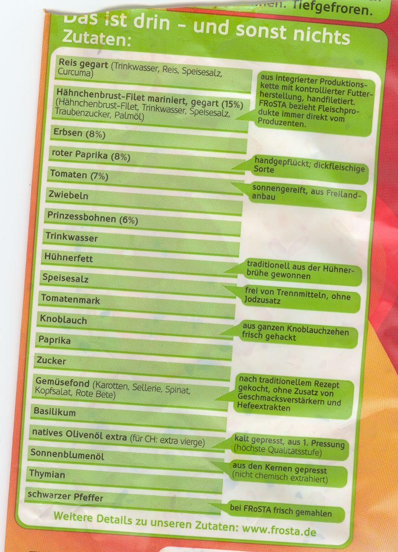 Scan Zutatenliste der Hähnchen-Paella von Frosta