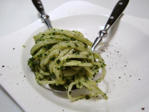 Spinat-Pesto mit Spaghetti