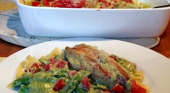 Foto: Hähnchenbrust mit Zuckerschoten in Pesto-Sahne