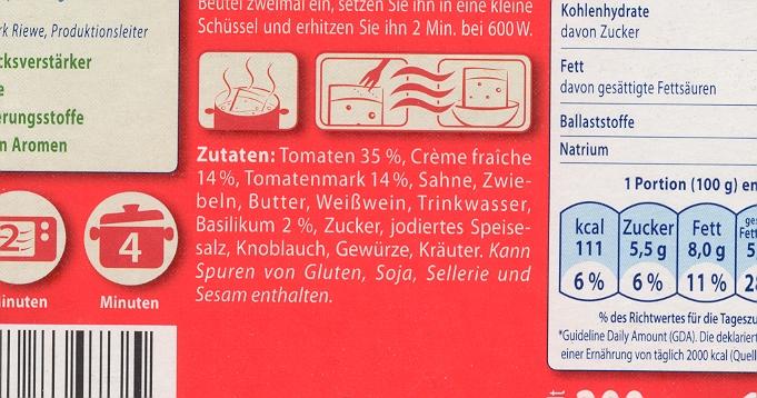 Scan: Zutatenliste Sauce Toskana von Steinhaus