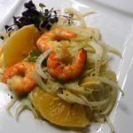 Fenchelsalat mit Orangenspalten und Crevetten